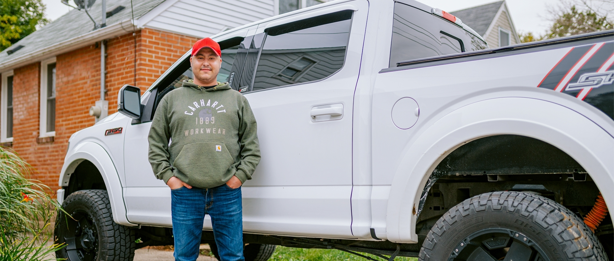Scott Monds of Dundas, Ont. stands in front of his truck. He has received two stem cell transplants from a single stem cell donor.
