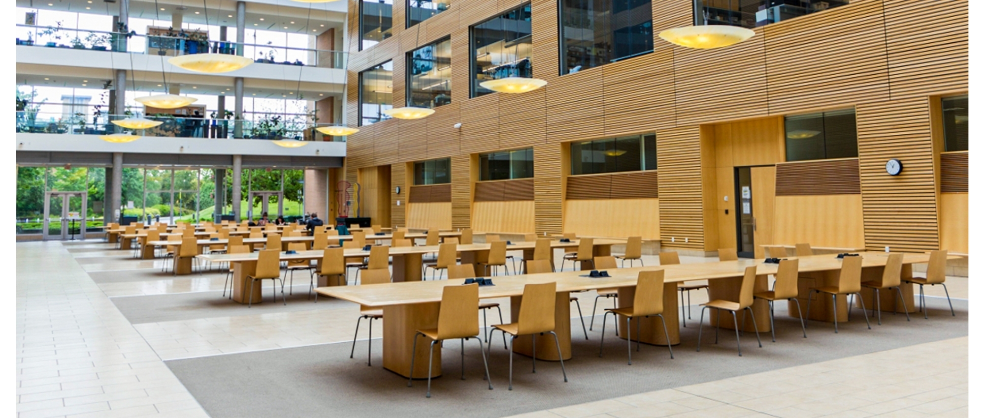 Image of the cafeteria of the Centre for Blood Research buidling