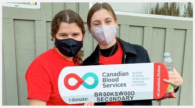 Brookswood Secondary School students in Langley, B.C. encourage youth blood donation