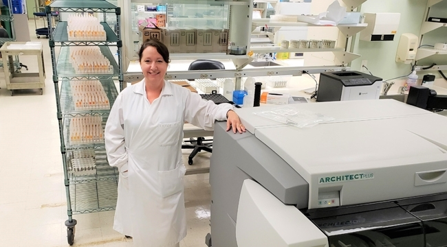 Valerie Conrod, a senior medical laboratory technologist is in charge of operating the high-throughput analyzers for COVID-19 antibody assessment in blood donors as part of our collaboration with the COVID-19 Immunity Task Force.